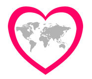 The stylized image of the continents in the center of a pink heart Royalty Free Stock Images
