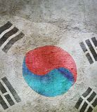 image of flag of korea south against the old wall background royalty free stock images