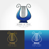 Stylized image of lyre logo. Modern linear thin flat design. The stylized image of lyre logo. classic music festival logo Template for covers, logo, posters Royalty Free Stock Photo