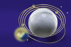 Stylized image of a model of the planet with golden rings and blue gems. Abstract image on a blue background. 3D rendering. Abstract 3d rendering of low poly stock illustration