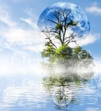 Stylized image of moon and tree against the water background Stock Photo