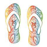 Stylized image of patterned pair of flip flops. Ornamental line art. Hand drawn doodle tattoo Royalty Free Stock Photography