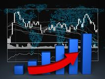Stylized image of price chart  with the  background of continents. Stylized image of graph on  the price chart background. 3d rendering Stock Photos