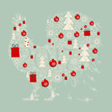 Stylized image of a rooster. The design greeting cards for new year and Christmas. Stylized image of a rooster , composed of Christmas paraphernalia: snowflakes Royalty Free Stock Photography