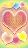 The stylized image of seven hearts on a multi-coloured background. With an inscription Happy Valentine's day Royalty Free Stock Photos