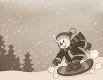 Stylized image with snowman on snowboard Stock Images