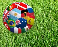 Stylized image of a soccer ball from the flags of countries participating in the World Cup. Stylized image of a soccer ball from the flags of countries stock images