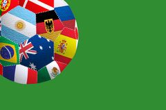 Stylized image of a soccer ball from the flags of countries participating in the World Cup. Stylized image of a soccer ball from the flags of countries royalty free stock photo