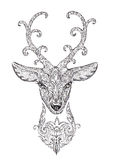 Stylized image, tattoo of a beautiful forest deer head with horn Royalty Free Stock Images