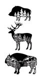 Stylized image wild boar, deer, bison with landscape of mountains, forest Royalty Free Stock Photo