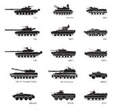 Stylized images of armored vehicles for military infographics. Vector illustration Stock Photography