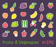 Stickers with images of stylized fruit and vegetables Stock Photography