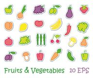 Stickers with images of stylized fruit and vegetables Royalty Free Stock Photo