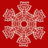 Stylized indian mandala over red . Vintage tribal Stock Image