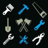 Stylized industrial icons, 3d vector work tools collection. Set. Of repair instruments, manufacturing and construction Stock Photos