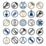 Stylized industrial icons, 3d work tools collection. Set of repa Stock Photo