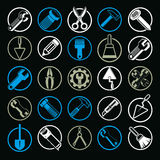 Stylized industrial icons, 3d work tools collection. Set of repa Stock Image