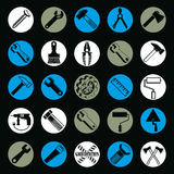 Stylized industrial icons, 3d work tools collection. Set Stock Photography