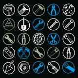 Stylized industrial vector icons, 3d work tools collection. Set Stock Photos
