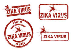 Stylized ink stamps showing the term zika virus royalty free stock photos