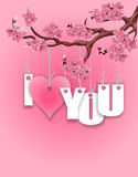 Stylized inscription I love you. A branch of cherry blossoms. Red heart on a pink  Royalty Free Stock Photo