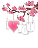 Stylized inscription I love you. A branch of cherry blossoms. Red heart on a white background. Postcard in honor of St Stock Images