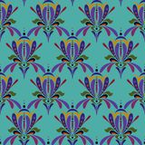 Stylized iris flower. Seamless floral colorful pattern. royalty free illustration