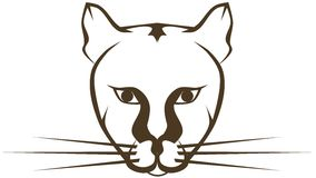 Stylized isolated cougar. Image representing a stylized artistic cougar, usable as tattoo or logo Stock Photo