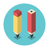 Stylized isometric pencils Royalty Free Stock Photography