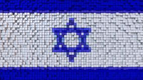 Stylized mosaic flag of Israel made of pixels, 3D rendering. Stylized Israeli flag made of big pixels Royalty Free Stock Images