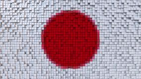 Stylized mosaic flag of Japan made of pixels, 3D rendering. Stylized Japanese flag made of big pixels Stock Images