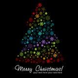 Stylized julgran som göras av snowflakes royaltyfri illustrationer