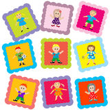 Stylized kids on colored squares Stock Photography