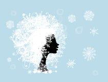 Stylized kvinnafrisyr med snowflaken. Vinter stock illustrationer