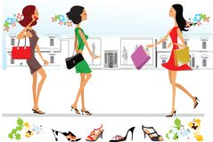 Stylized lady shopping Stock Photos