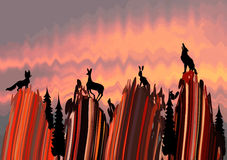 The stylized landscape with animals. Silhouette of wildlife animals and trees Stock Photo