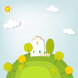 Stylized landscape with a house on the hill Royalty Free Stock Photo
