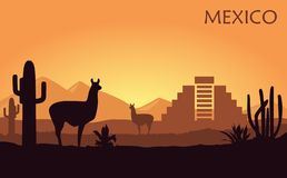 Stylized landscape of Mexico with a llama, cactuses and ancient pyramid. royalty free illustration