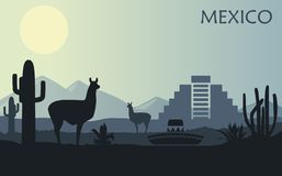 Stylized landscape of Mexico with a llama, cactuses and ancient pyramid royalty free illustration
