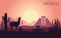 Stylized landscape of Mexico with a llama, cactuses and ancient pyramid vector illustration