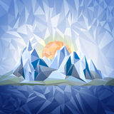 Stylized landscape in origami style Royalty Free Stock Images