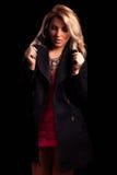 Stylized Latina Girl in Long Black Jacket Stock Photos