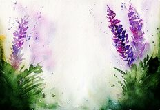 Stylized lavender painted watercolors with free space for your text vector illustration