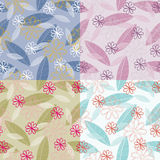 Stylized Leaves and Flowers Seamless Pattern Royalty Free Stock Images