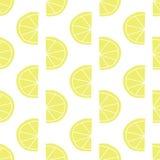 Stylized lemon slices seamless vector pattern. Contemporary fruit design in retro style. Yellow lemons on white background. Hand royalty free illustration
