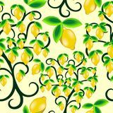 Lemon Tree Summer Juicy Fruit Seamless Pattern Vector Design. Stylized Lemon Tree, Juicy Fruit, decorative Plants assembled to compose a Bright Yellow Summer royalty free illustration