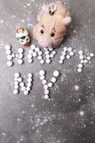 Stylized letters from berries 2019. pig - the symbol of the year. Stylized letters from beries 2019 pig - the symbol of the year, happy new year royalty free stock photo