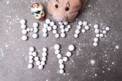 Stylized letters from berries 2019. pig - the symbol of the year. Stylized letters from beries 2019 pig - the symbol of the year, happy new year royalty free stock photography