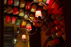Stylized lighting cafe in the evening light Royalty Free Stock Photos