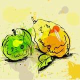 Stylized lime and lemon illustration Stock Photo